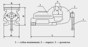Тиски слесарные чугунные ТСЧ-200Н, 220Н неповоротные (материал чугун СЧ20)