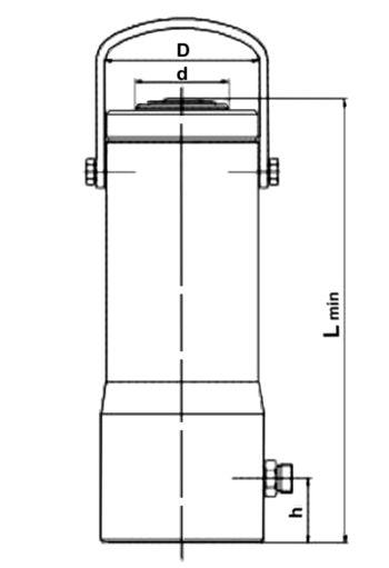 Схема гидроцилиндра BRANO Z321 с размерами