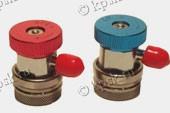 Комплект Г образных быстросъемных адаптеров предназначен для подключения шлангов манометрического коллектора к сервисным портам линий высокого и низкого давлений систем кондиционирования, работающих на R-134A
